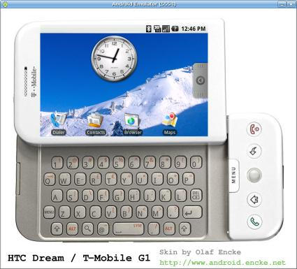 Android emulator skin HTC Dream in white and landscape mode