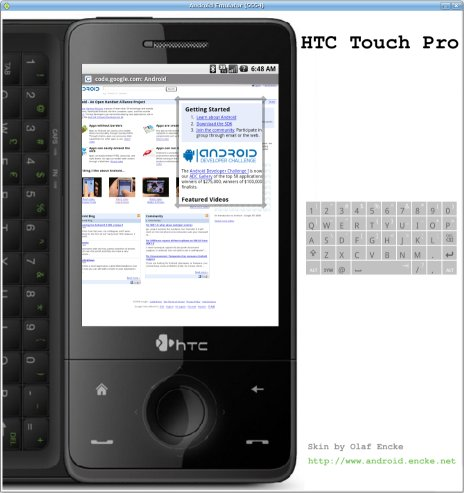Android emulator skin HTC Touch Pro in portrait mode