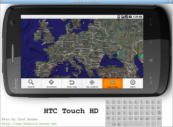 Android emulator skin HTC Touch HD in landscape mode
